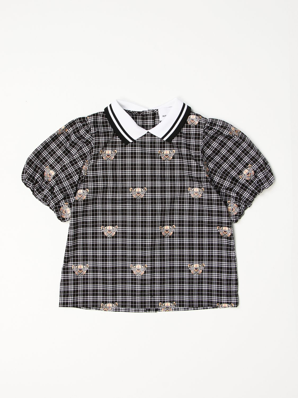 Shirt Burberry: Burberry checked cotton shirt with Thomas bear print black 1