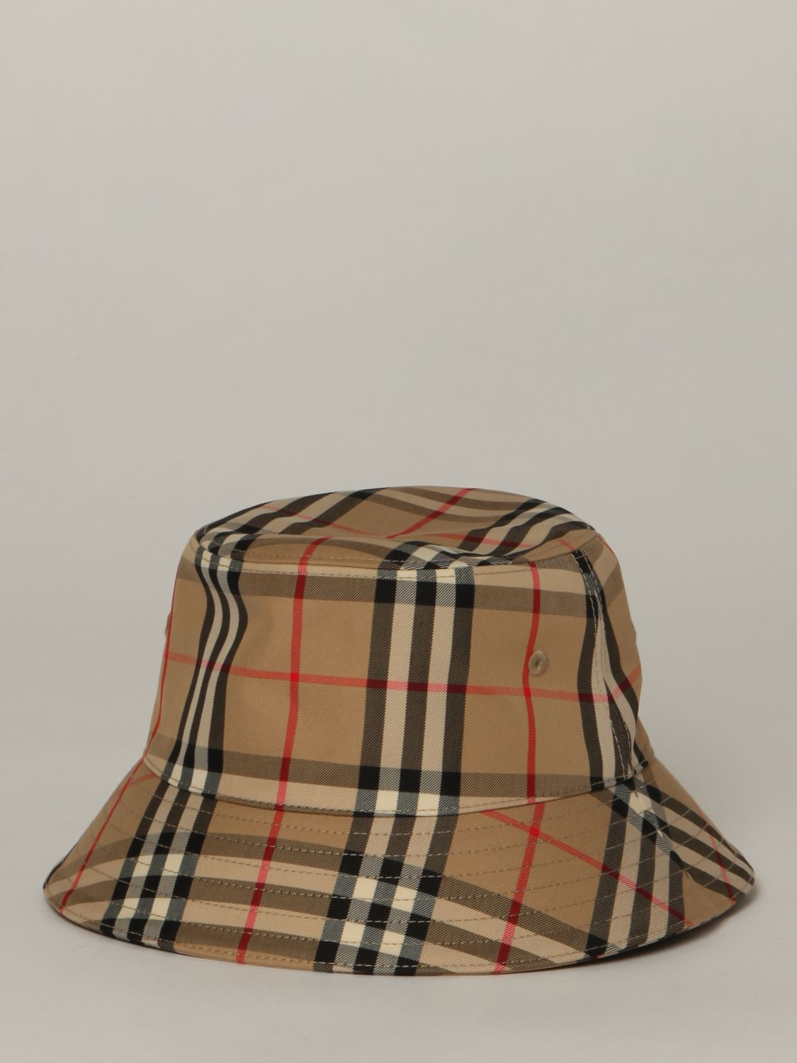 Hat Burberry: Burberry fisherman's hat in check canvas beige 1