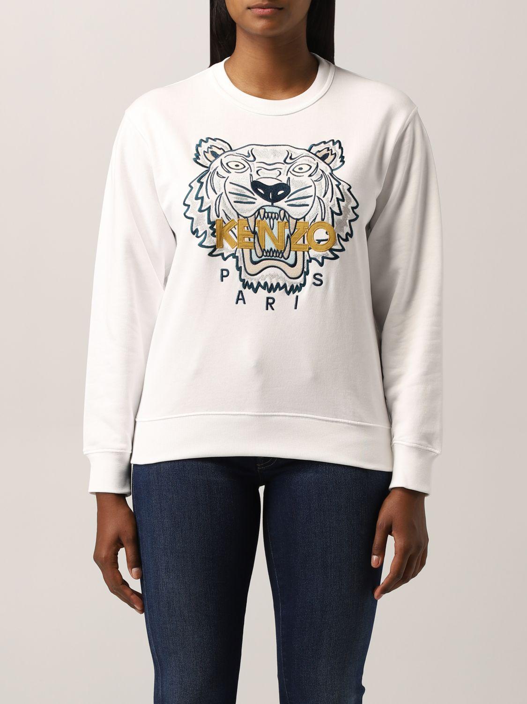 Felpa Kenzo: Felpa Kenzo con tigre ricamata bianco 1