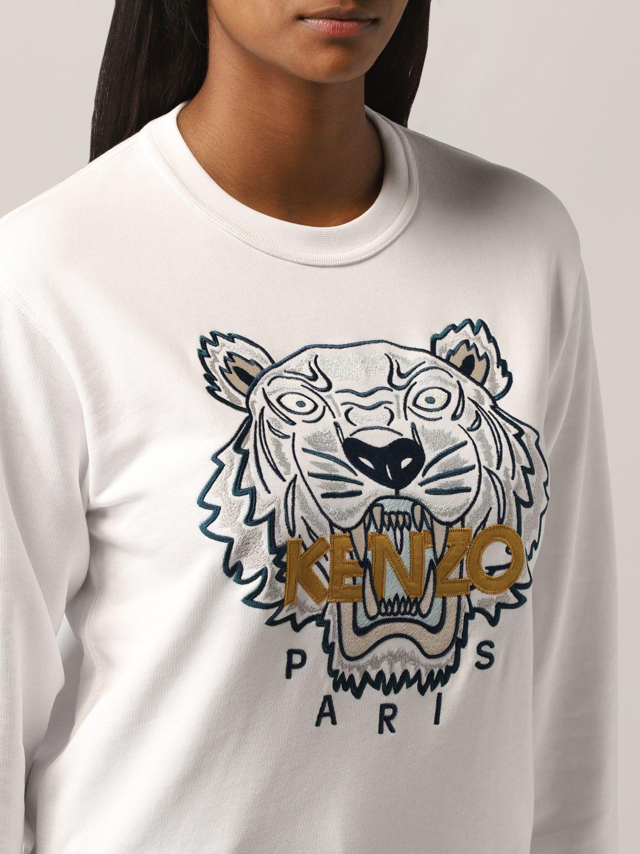 Felpa Kenzo: Felpa Kenzo con tigre ricamata bianco 4