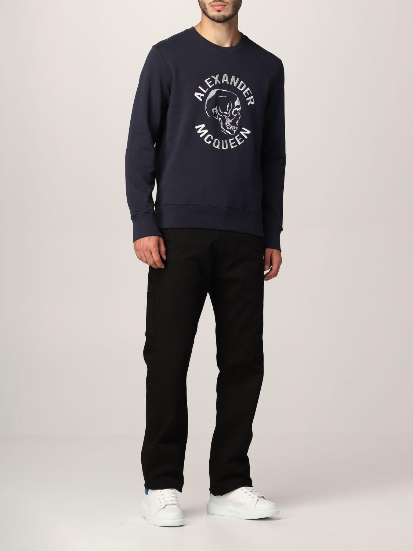 Sweatshirt Alexander Mcqueen: Alexander McQueen sweatshirt with embroidered skull navy 2