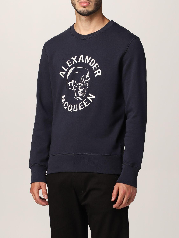 Sweatshirt Alexander Mcqueen: Alexander McQueen sweatshirt with embroidered skull navy 4