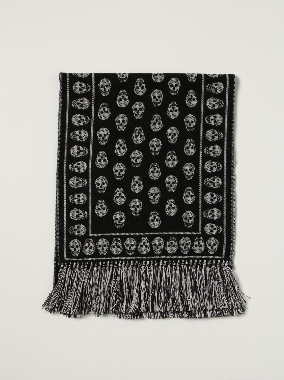 Scarf Alexander Mcqueen: Alexander McQueen wool scarf with all-over skulls black 1