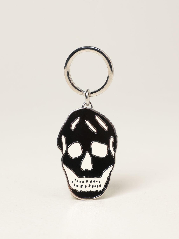 Keyring Alexander Mcqueen: Alexander McQueen Skull keyring in brass white 1