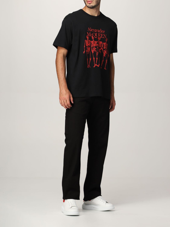 T-shirt Alexander Mcqueen: T-shirt Alexander McQueen con stampa scheletro nero 2