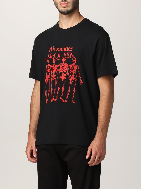 T-shirt Alexander Mcqueen: T-shirt Alexander McQueen con stampa scheletro nero 4