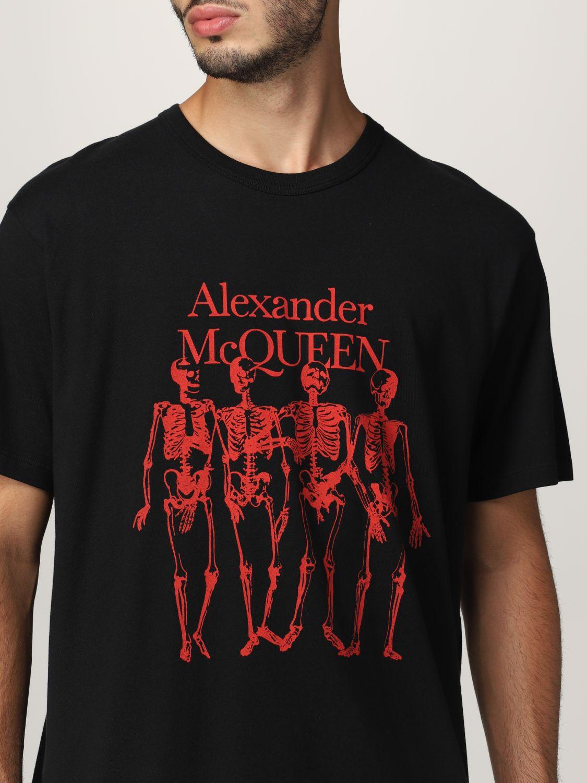 T-shirt Alexander Mcqueen: T-shirt Alexander McQueen con stampa scheletro nero 5
