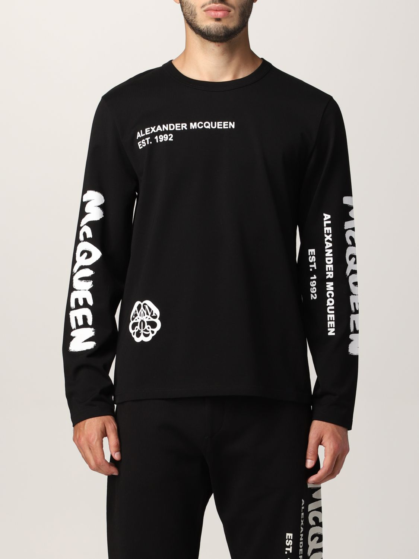 T-shirt Alexander Mcqueen: T-shirt Alexander McQueen con stampa teschio tipografica nero 1