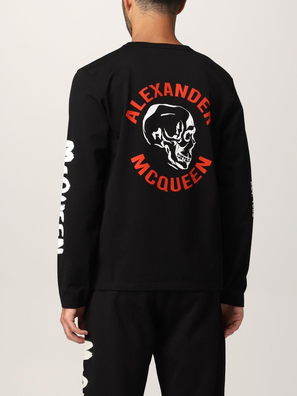 T-shirt Alexander Mcqueen: T-shirt Alexander McQueen con stampa teschio tipografica nero 3