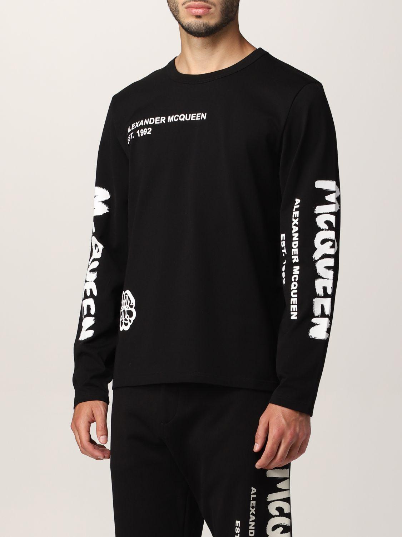 T-shirt Alexander Mcqueen: T-shirt Alexander McQueen con stampa teschio tipografica nero 4