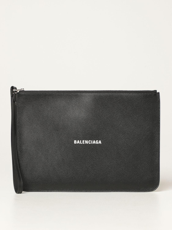 Wallet Balenciaga: Balenciaga clutch bag in hammered leather with logo white 1