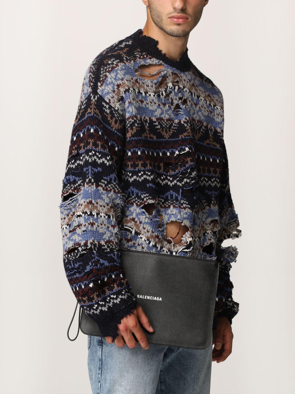 Wallet Balenciaga: Balenciaga clutch bag in hammered leather with logo white 2