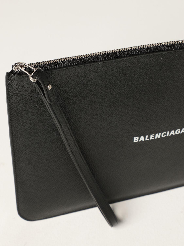 Wallet Balenciaga: Balenciaga clutch bag in hammered leather with logo white 4