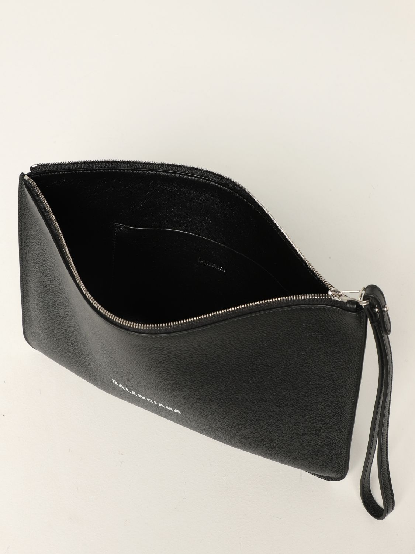 Wallet Balenciaga: Balenciaga clutch bag in hammered leather with logo white 5
