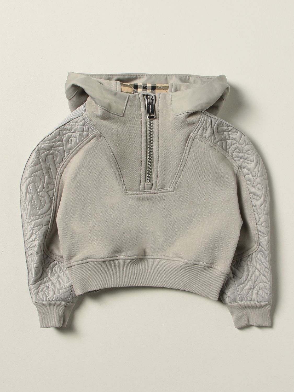 Jumper Burberry: Burberry cotton jersey jumper with quilted panels grey 1 1