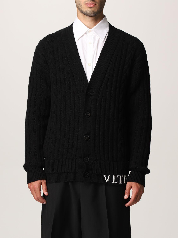 Cardigan Valentino: Cardigan Valentino in lana vergine con logo VLTN nero 1