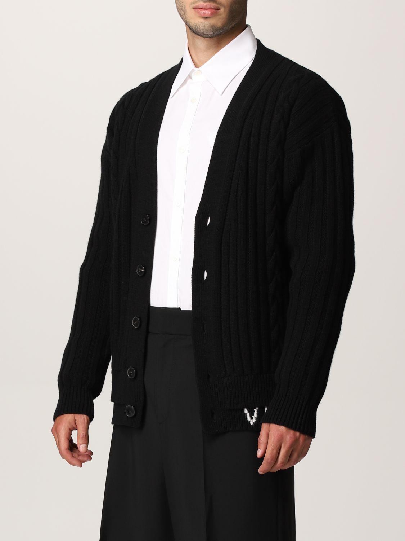 Cardigan Valentino: Cardigan Valentino in lana vergine con logo VLTN nero 4