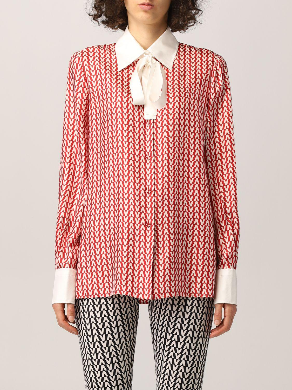 Camicia Valentino: Camicia Valentino in seta con stampa optical rosso 1