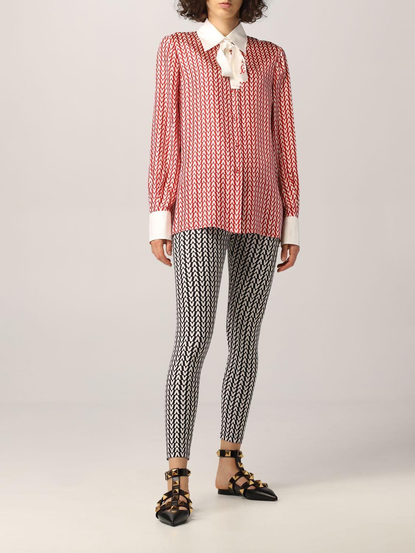 Camicia Valentino: Camicia Valentino in seta con stampa optical rosso 2