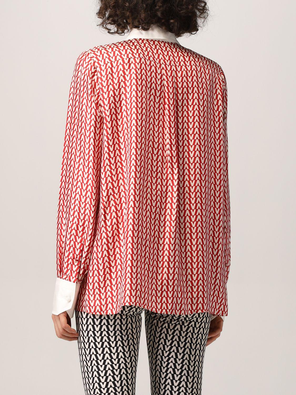 Camicia Valentino: Camicia Valentino in seta con stampa optical rosso 3
