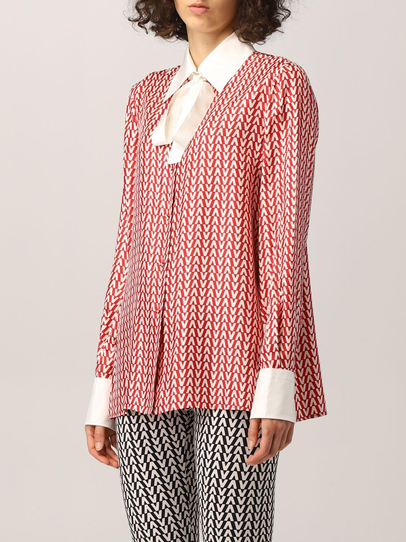 Camicia Valentino: Camicia Valentino in seta con stampa optical rosso 4