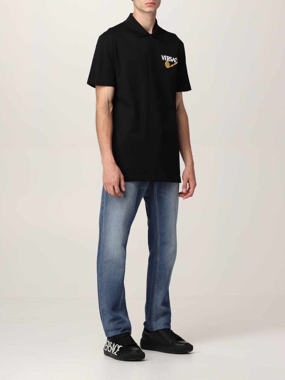 T-shirt Versace: Polo Versace in cotone piquet nero 2