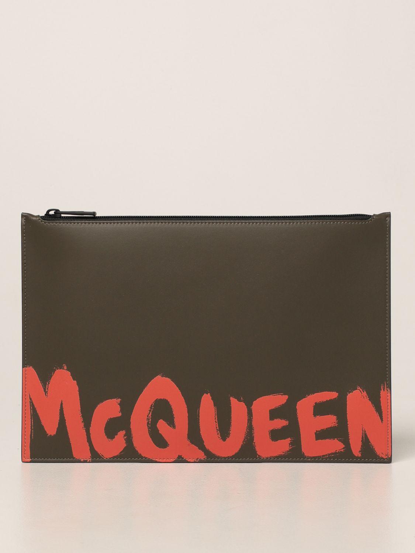 Portadocumenti Alexander Mcqueen: Pochette Alexander McQueen in pelle con logo Graffiti kaki 1