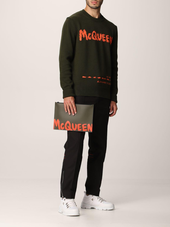 Portadocumenti Alexander Mcqueen: Pochette Alexander McQueen in pelle con logo Graffiti kaki 2