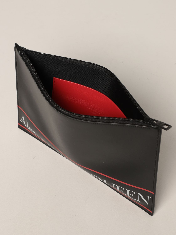 Portadocumenti Alexander Mcqueen: Pochette Alexander McQueen in pelle con logo nero 5