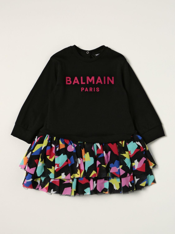 连体装 Balmain: Balmain 图案半身裙棉质连衣裙 黑色 1