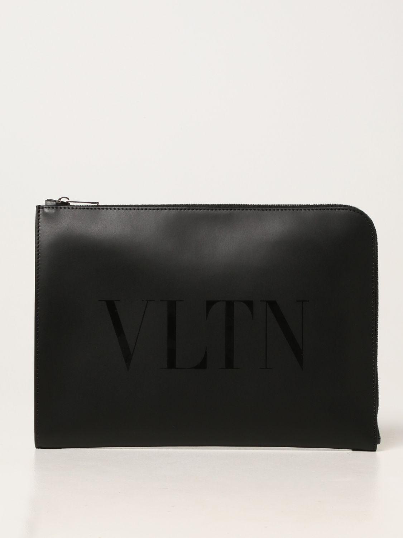 Portadocumenti Valentino Garavani: Portadocumenti Valentino Garavani in pelle con logo VLTN nero 1