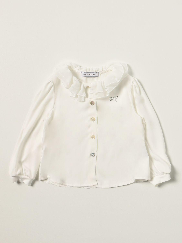 衬衫 Monnalisa: Monnalisa 水钻Logo衬衫 奶油黄 1
