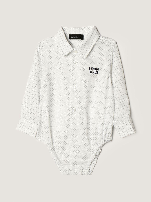 Body Monnalisa: Body a camicia Monnalisa in cotone bianco 1