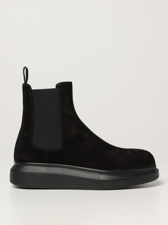 Boots Alexander Mcqueen: Alexander McQueen Chelsea boot in suede black 1