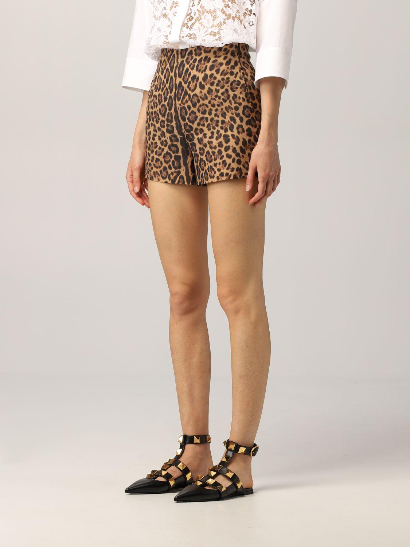 Pantaloncino Valentino: Pantaloncino Valentino in crêpe animalier fantasia 4
