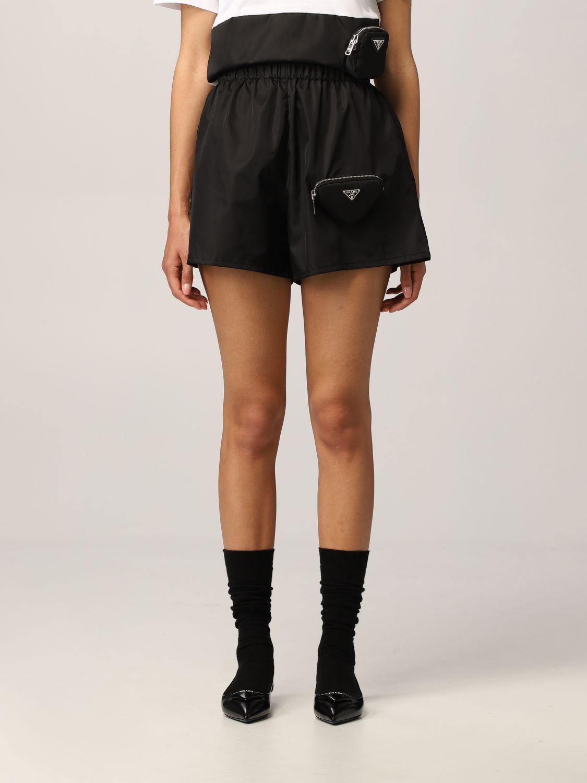 Pantaloncino Prada: Pantaloncino jogging Prada in nylon con pochette nero 1