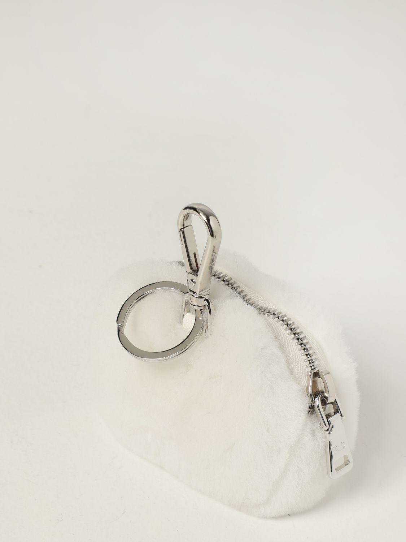 Clutch Prada: Mini contenitore Prada in montone con logo bianco 3