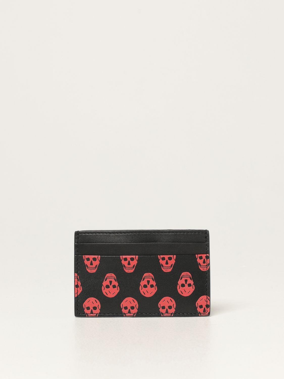 Wallet Alexander Mcqueen: Alexander Mcqueen credit card holder in leather with skulls black 1