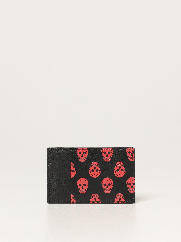 Wallet Alexander Mcqueen: Alexander Mcqueen credit card holder in leather with skulls black 2