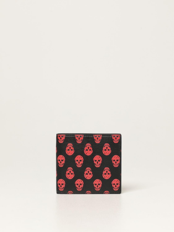Wallet Alexander Mcqueen: Alexander McQueen leather wallet with skulls black 1