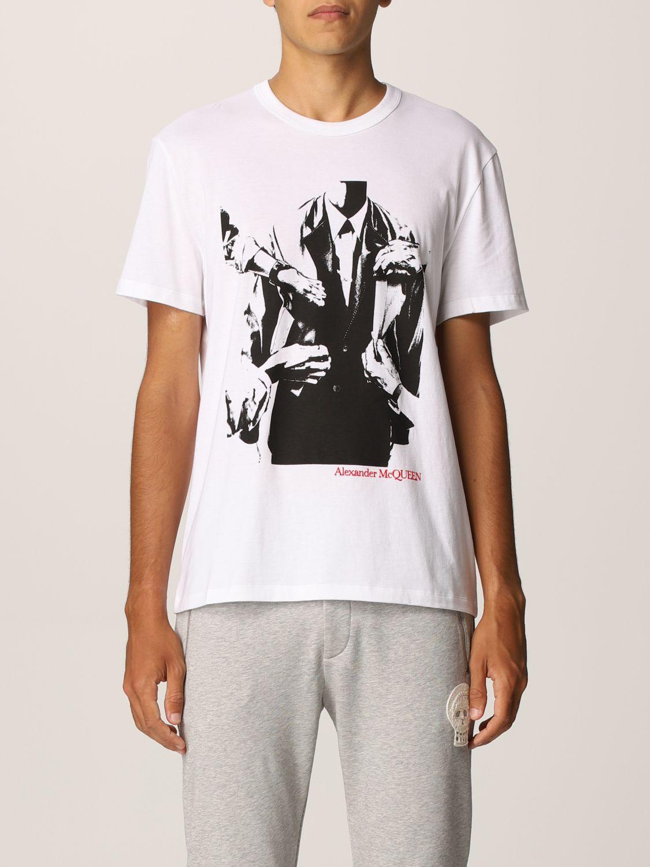 T-shirt Alexander Mcqueen: T-shirt Alexander McQueen con stampa grafica bianco 1