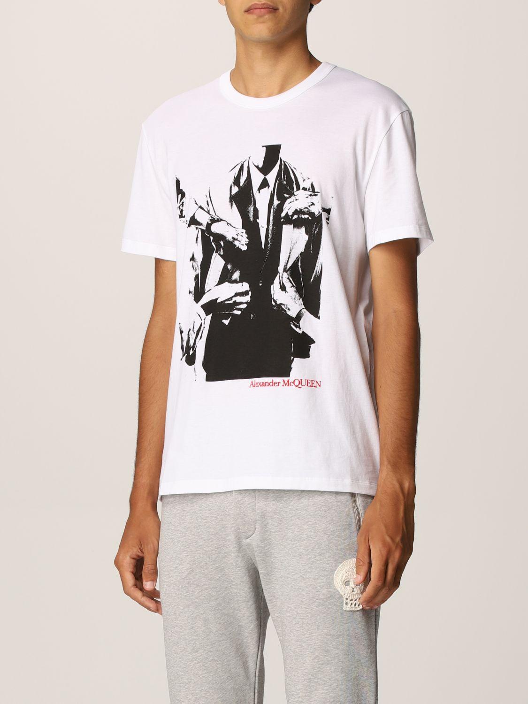 T-shirt Alexander Mcqueen: T-shirt Alexander McQueen con stampa grafica bianco 4