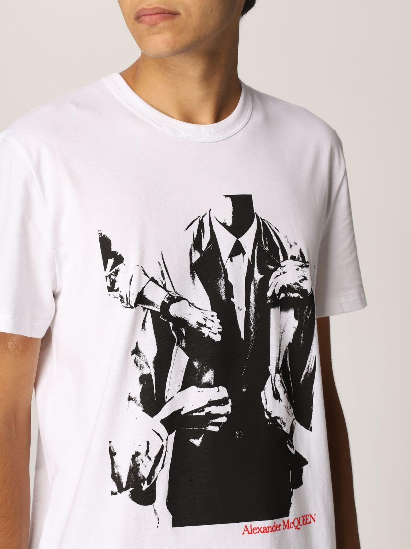 T-shirt Alexander Mcqueen: T-shirt Alexander McQueen con stampa grafica bianco 5