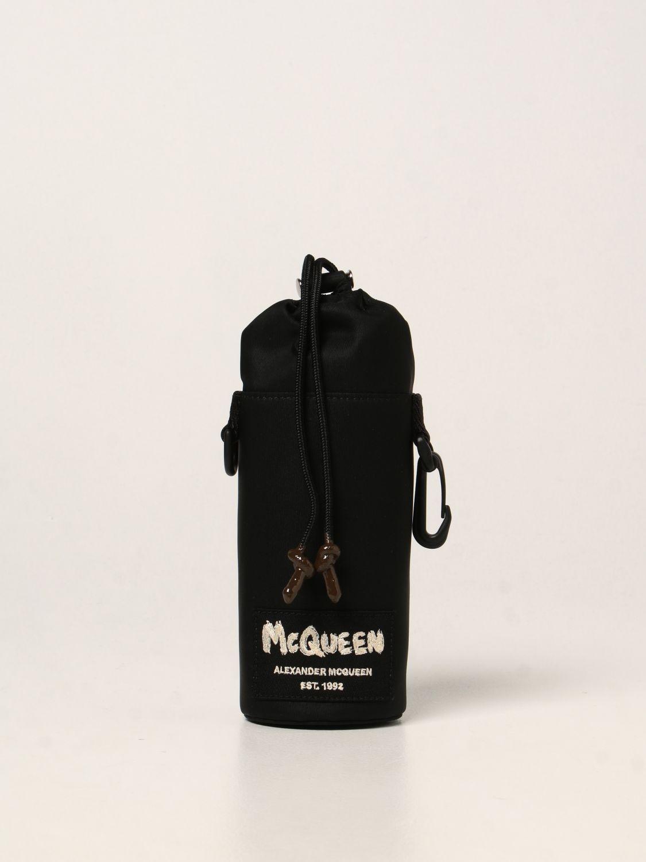 Bags Alexander Mcqueen: Alexander McQueen bottle holder in nylon with Graffiti logo black 1