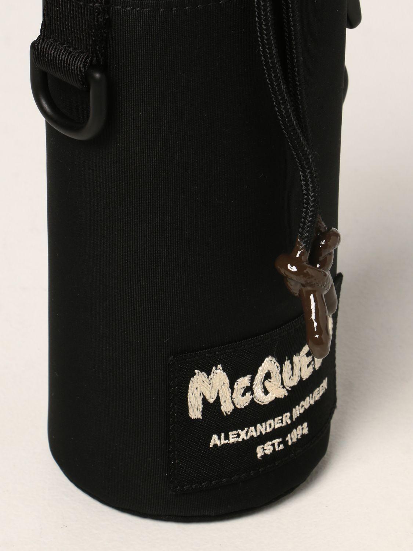 Bags Alexander Mcqueen: Alexander McQueen bottle holder in nylon with Graffiti logo black 2