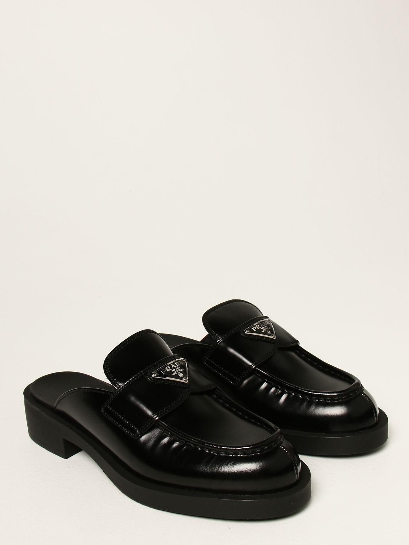 Scarpe con tacco Prada: Sabot Prada in pelle spazzolata con logo nero 2