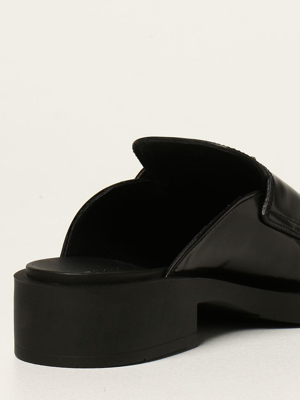 Scarpe con tacco Prada: Sabot Prada in pelle spazzolata con logo nero 3
