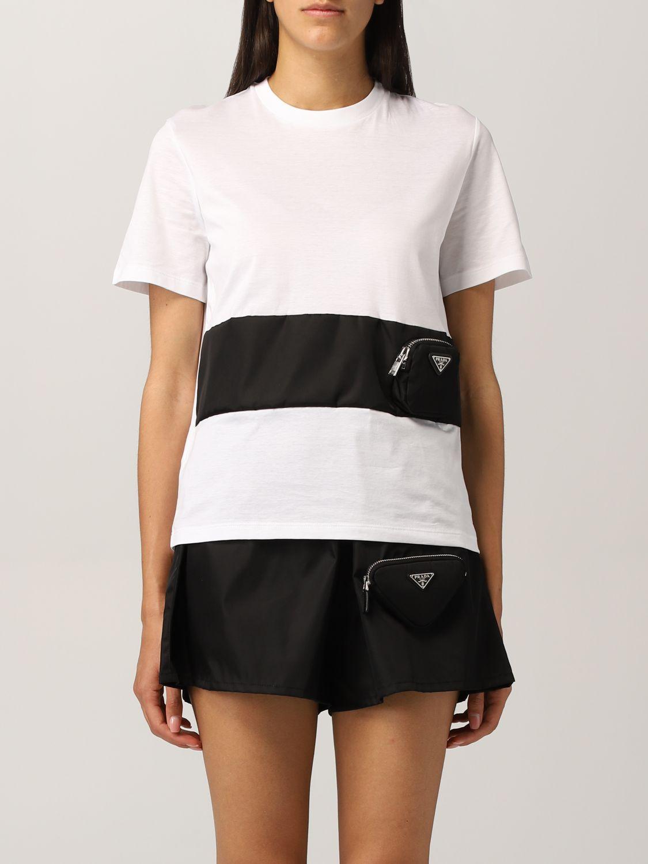 T-shirt Prada: T-shirt Prada in cotone e nylon bicolor bianco 1