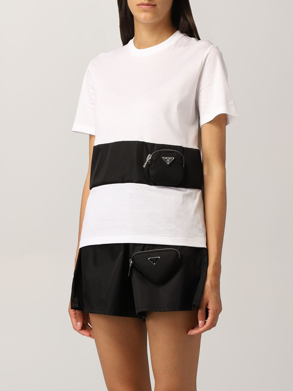 T-shirt Prada: T-shirt Prada in cotone e nylon bicolor bianco 4