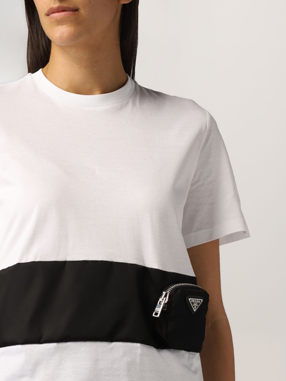 T-shirt Prada: T-shirt Prada in cotone e nylon bicolor bianco 5